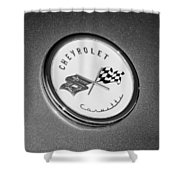 1954 Chevrolet Corvette Emblem -052bw Shower Curtain