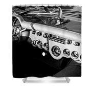 1954 Chevrolet Corvette Steering Wheel -502bw Shower Curtain