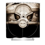 1954 Chevrolet Corvette Steering Wheel Emblem Shower Curtain