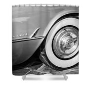 1954 Chevrolet Corvette Wheel Emblem -159bw Shower Curtain