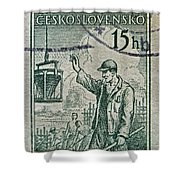 1954 Czechoslovakian Construction Worker Stamp Shower Curtain