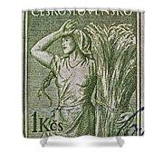 1954 Czechoslovakian Farm Woman Stamp Shower Curtain