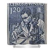 1954 Czechoslovakian Scientist Stamp Shower Curtain