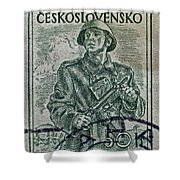 1954 Czechoslovakian Soldier Stamp Shower Curtain