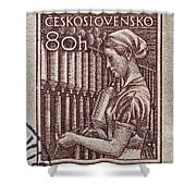 1954 Czechoslovakian Textile Worker Stamp Shower Curtain