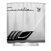 1954 Ford Crestline Skyliner Emblem -0560bw Shower Curtain