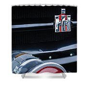 1954 International Harvester R140 Woody Grille Emblem Shower Curtain by Jill Reger
