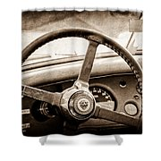 1954 Jaguar Xk120 Roadster Steering Wheel Emblem Shower Curtain
