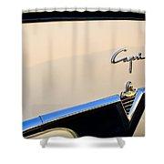 1954 Lincoln Capri Convertible Emblem 2 Shower Curtain by Jill Reger