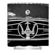 1954 Maserati A6 Gcs Grille Emblem -0259bw Shower Curtain