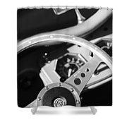 1954 Mg Tf Steering Wheel Emblem -0920bw Shower Curtain