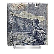 1954 Mount Aspiring New Zealand Stamp Shower Curtain