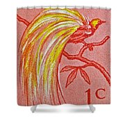 1954 Netherlands New Guinea Paradise Bird Stamp Shower Curtain