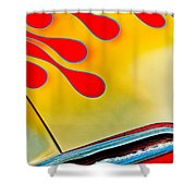 1954 Studebaker Champion Coupe Hot Rod Red With Flames - Grille Emblem Shower Curtain by Jill Reger