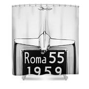 1955 Alfa Romeo 1900 Css Ghia Aigle Cabriolet Grille Emblem - Super Sprint Emblem -0601bw Shower Curtain