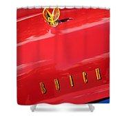 1955 Buick Roadmaster Hood Ornament - Emblem Shower Curtain