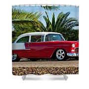 1955 Chevrolet 210 Shower Curtain by Jill Reger