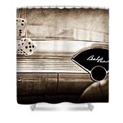 1955 Chevrolet Belair Dashboard Emblem Shower Curtain