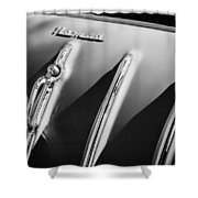 1955 Chevrolet Belair Nomad Hood Ornament -559bw Shower Curtain