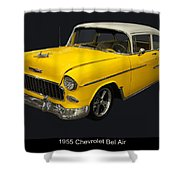 1955 Chevy Bel Air Harvest Gold Shower Curtain