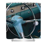 1955 Chevy Nomad Steering Wheel Shower Curtain