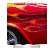 1955 Chevy Pickup With Flames Shower Curtain