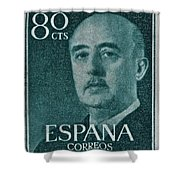 1955 General Franco Spanish Stamp Shower Curtain