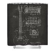 1955 Mccarty Gibson Les Paul Guitar Patent Artwork - Gray Shower Curtain