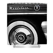 1955 Mercury Montclair Convertible Wheel Emblem Shower Curtain