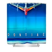 1955 Pontiac Safari Hood Ornament 4 Shower Curtain