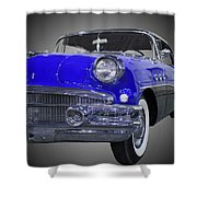 1956 Buick Special Riviera Coupe-blue Shower Curtain