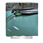 1956 Cadillac Lasalle Hood Ornament Shower Curtain
