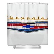 1956 Chevrolet 210 Emblem Shower Curtain