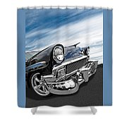 1956 Chevrolet With Blue Skies Shower Curtain