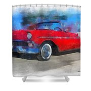 1956 Chevy Car Photo Art 01 Shower Curtain