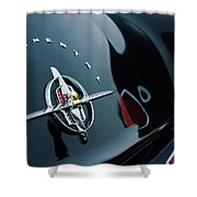 1956 Lincoln Continental Mark II Coupe Rear Emblem Shower Curtain