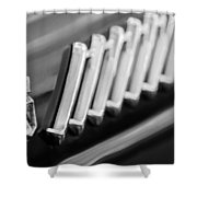 1956 Ford Thunderbird Emblem -278bw Shower Curtain
