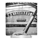1956 Ford Thunderbird Steering Wheel -260bw Shower Curtain