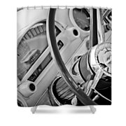 1956 Ford Thunderbird Steering Wheel -322bw Shower Curtain