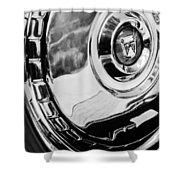 1956 Ford Thunderbird Wheel Emblem -232bw Shower Curtain