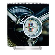 1956 Lincoln Continental Mark II Hess And Eisenhardt Convertible Steering Wheel Emblem Shower Curtain