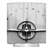 1956 Lincoln Continental Rear Emblem Shower Curtain