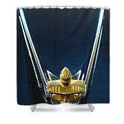 1956 Lincoln Premiere Convertible Hood Ornament Shower Curtain