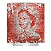 1956 Queen Elizabeth New Zealand Stamp Shower Curtain