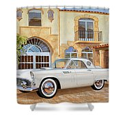 1956 Thunderbird At Palm Beach  Classic Vintage Ford Art Sketch Rendering          Shower Curtain
