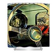 1956 Volkswagen VW Bug Steering Wheel 2 Shower Curtain by Jill Reger