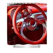 1957 Chevrolet Bel Air Steering Wheel Shower Curtain
