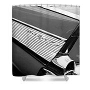 1957 Chevrolet Belair Convertible Taillight Emblem Shower Curtain
