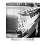 1957 Chevrolet Belair Coupe Tail Fin -019bw Shower Curtain