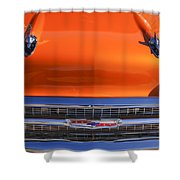 1957 Chevrolet Belair Hood Ornament - Grille Emblem -055c Shower Curtain